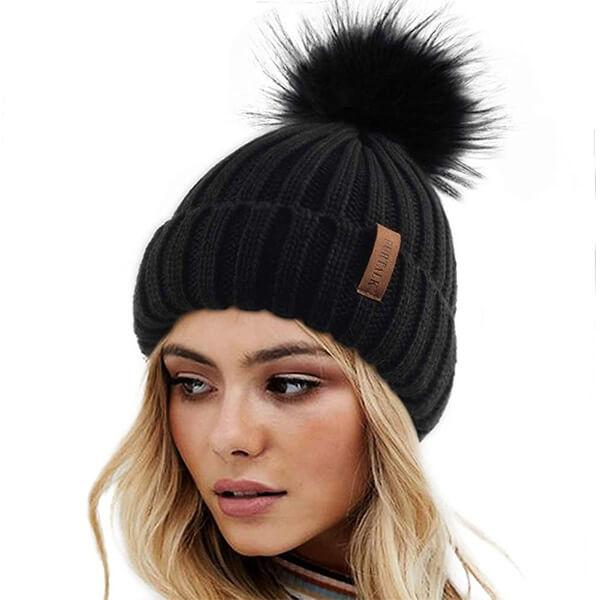 FURTALK Womens Beanie Hat with Faux Fur Pom