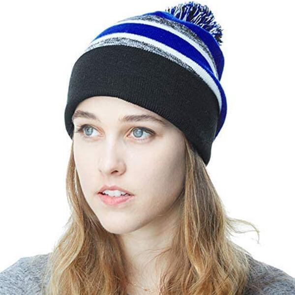 Stripe Knit Beanie Skull Slouch Hat