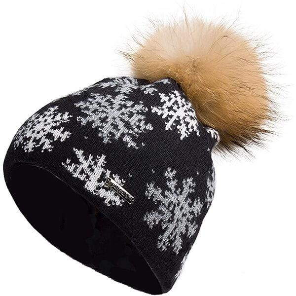 Womens Slouchy Beanie Hat with Fur Pompom