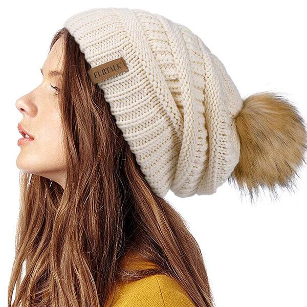 Cute Bobble Hat, Slouchy Hat, Winter Knit Beanie Hat