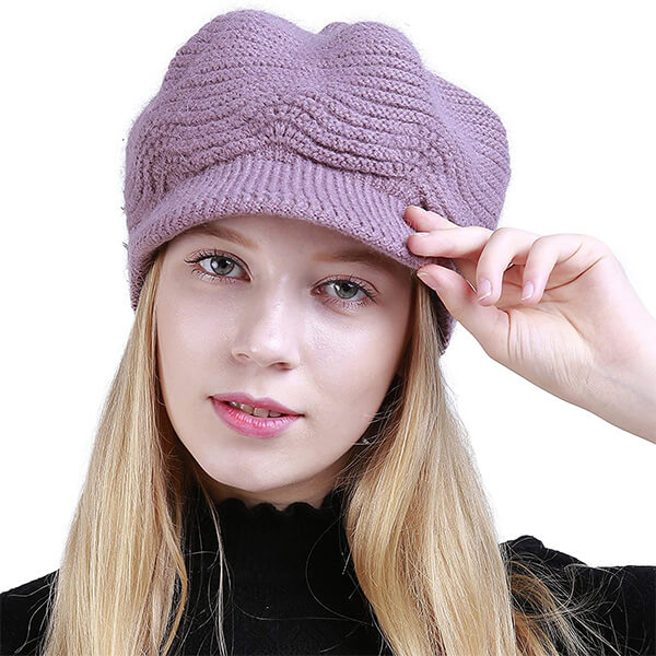 Cable Knit Beanie Skull Hat with Visor