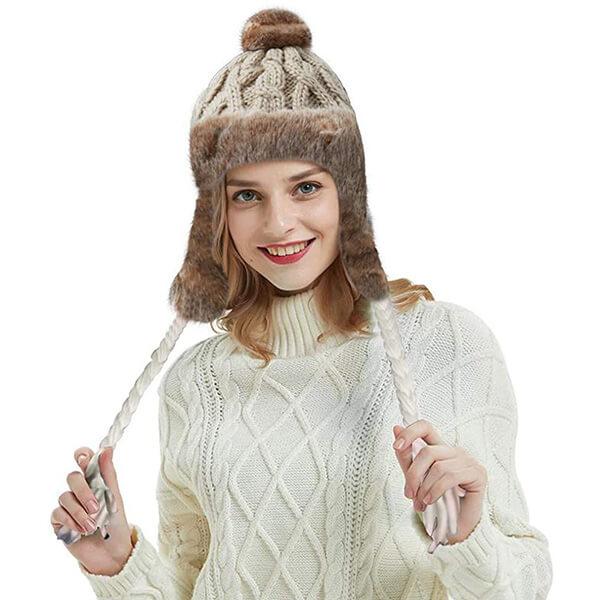 Crochet Tassel Peru Ski Hat Cap with Ear flap Pom