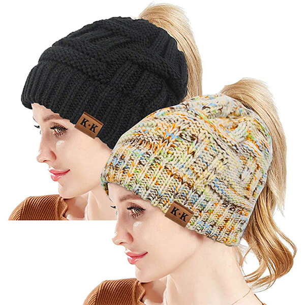 Ponytail Cable Knit Beanie