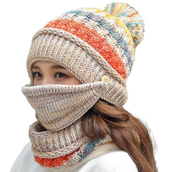 Fleece Lined Beanie Scarf Mask Set Winter Knit Ear Flaps