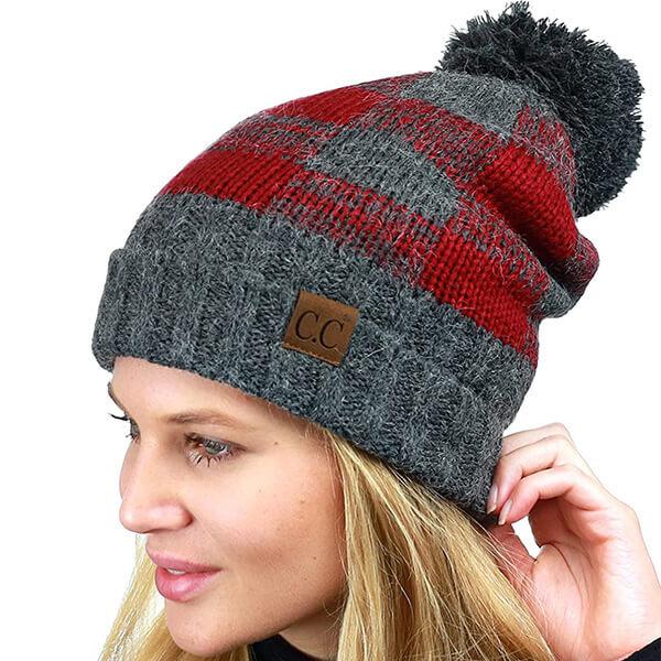 Fuzzy Lined Buffalo Plaid Cuff Beanie Hat