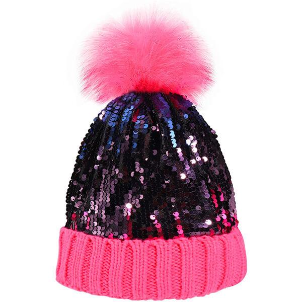 Women Sequin Beanie Hat with Faux Fur Pom-Pom