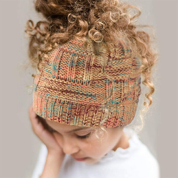 Soft Stretchy Cable Knit BeanieTail Ponytail Beanie Hat