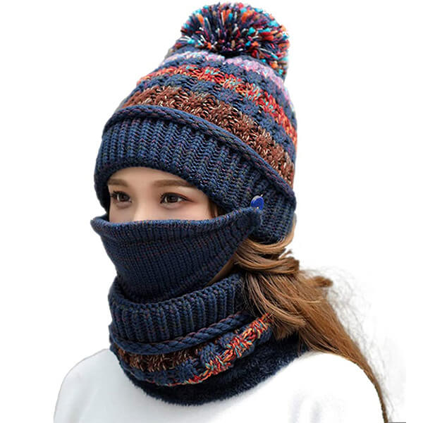 Cute Winter Hat, Scarf and Mouth Mask Set