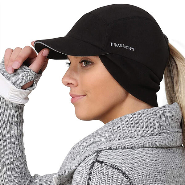 Ponytail Baseball Hat with Drop Down Ear Warmer