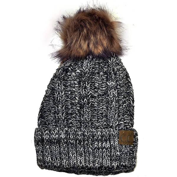 C.C Thick Fuzzy Fur Pom Fleece Lined Beanie