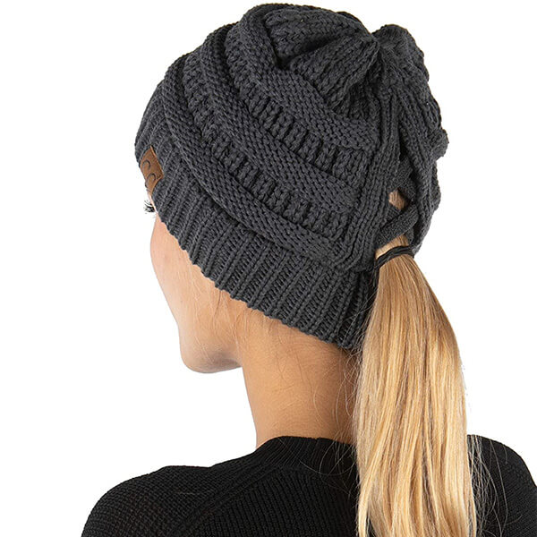 Criss Cross Ponytail Knit Hat