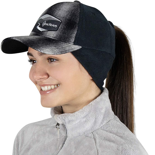 Messy Fleece Lined Baseball Hat with Ear Warmer