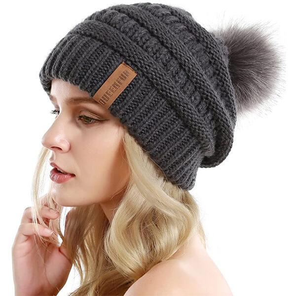 Beanie Hat with Faux Fur Pompom.