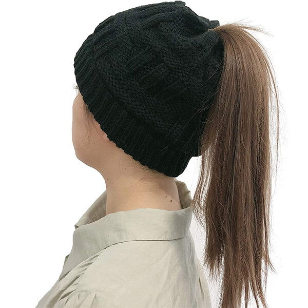Ponytail Beanie with Button for Mask