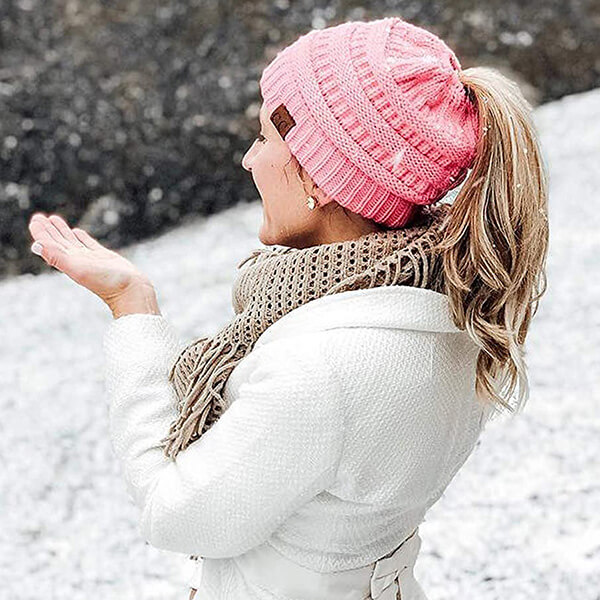 Multi-Color Ribbed Ponytail Beanie