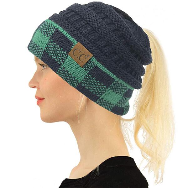 Ponytail Messy Bun Winter Hat