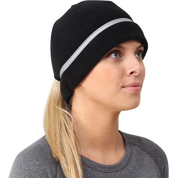 Reflective Running Beanie with Ponytail Hole