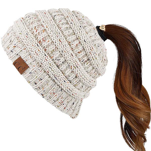 C.C Confetti Beanie Ponytail Hat
