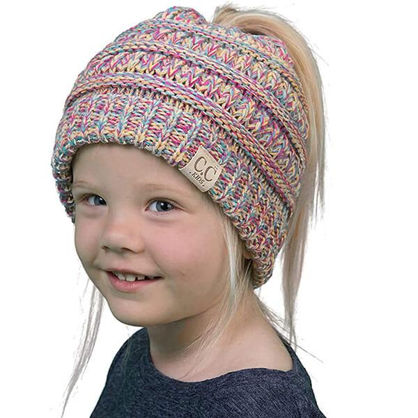 Ponytail Messy Bun Beanie for Little Girls