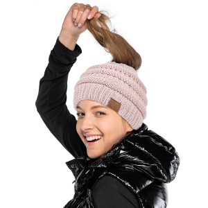 C.C Exclusives Messy Bun Ponytail Beanie Winter Hat