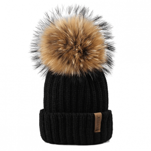 FURTALK Winter Knit Hat Real Raccoon Fur Pom Pom