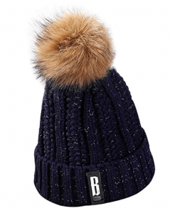 Faux Fuzzy Fur Pom Beanie Thick Cable Knit Hat for Girls
