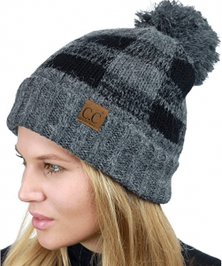 Fuzzy Lined Buffalo Plaid Cuff Beanie Hat