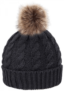 HelloAllyn Women's Cable Knit Faux Fur Pom Beanie