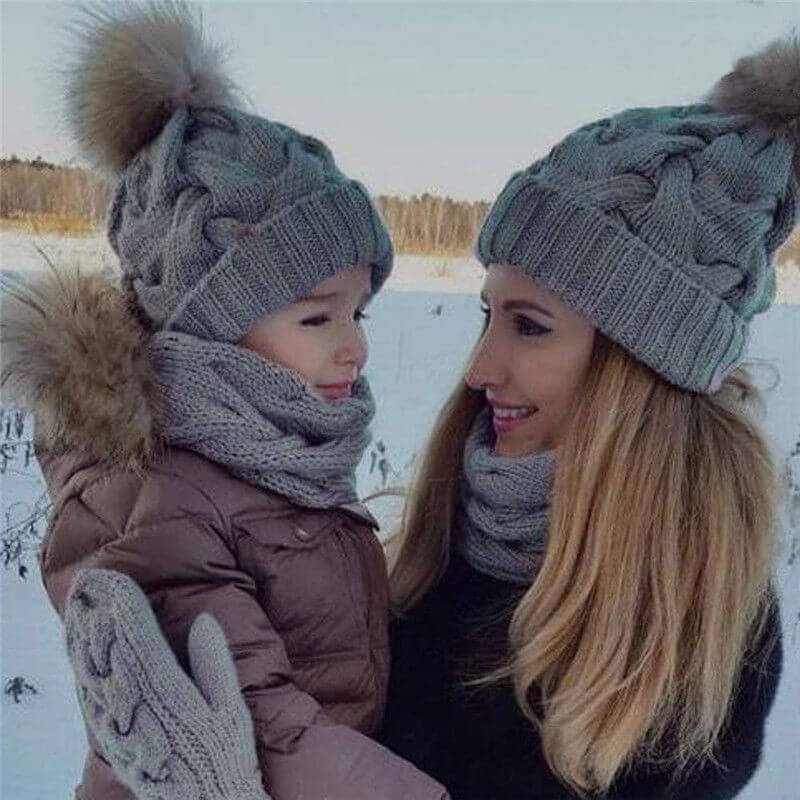 Women/'s Hat Winter Warm Faux Fur Detachable Pom Pom Bobble Beanie Knitted Mens