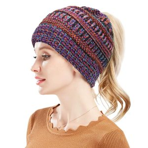 Women's Winter BeanieTail Warm Stretch Cable Knit High Bun Ponytail Beanie Hat