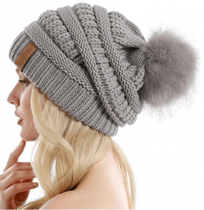 Baggy Hat with Faux Fur Pompom