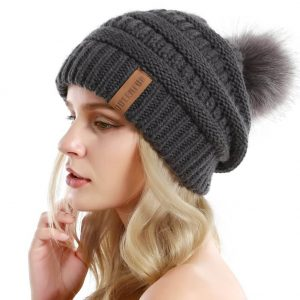 Beanie Hat with Faux Fur Pompom