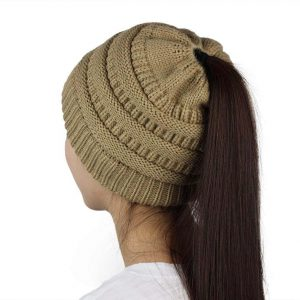 Beanie Tail Slouchy Ponytail Soft Stretch Cable Messy High Bun Knit Hat