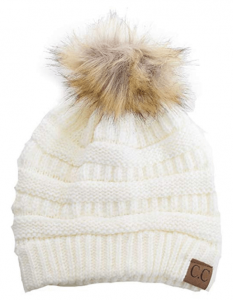 Cable Knit Ribbed Faux Fur Pom Pom Beanie Hat