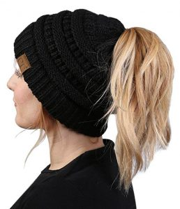 CC Ponytail Messy Bun BeanieTail Womens Beanie Solid Ribbed Hat Cap