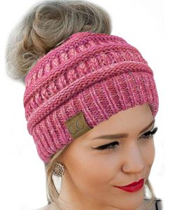 CC Quality Knit Messy Bun Beanie Hat
