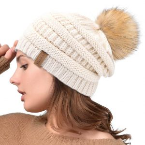 Cute Bobble Hat, Slouchy Hat, Winter Knit Beanie Hat