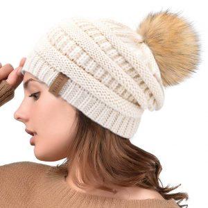 Cute Bobble Hat, Slouchy Hat, Winter Knit Beanie Hat.
