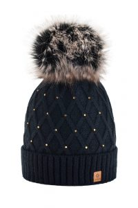 Knitted CRYSTAL Ladies Fashion Large Pom Pom Beanie Hat