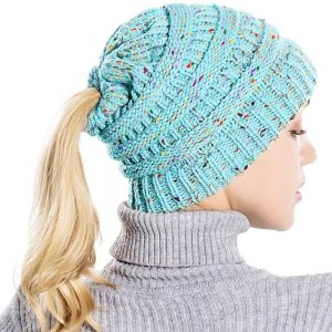 Messy Bun Ponytail Beanie Hat With Colored Dots