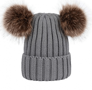Double Faux Fur Pom Pom Ears Beanie