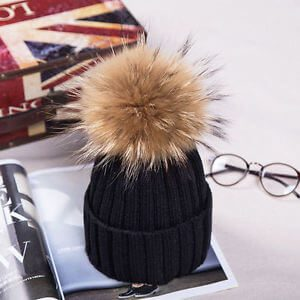 Real Raccoon Fur Pom Pom Bobble Women Knit Beanie
