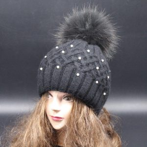 Thick Rabbit Wool Blend Knitted Beanie
