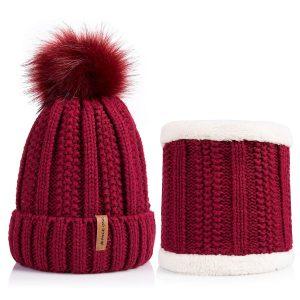 Winter Faux Fur Pom Fleece Lined Beanie
