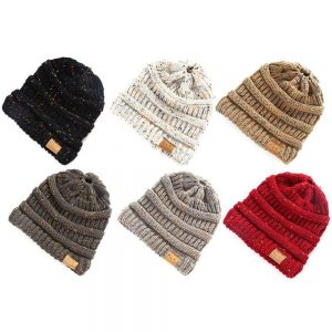 Women Beanie Tail Messy Soft Bun Hat Ponytail Stretchy Knitted Crochet Skull Cap