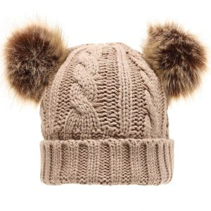 Women's Cable Knitted Faux Fur Double Pom Pom Beanie Hat with Plush Lining