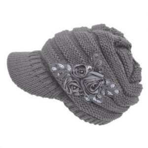 Women's Floral Stretchy Cable Knit Visor Hat With Flower Accent.