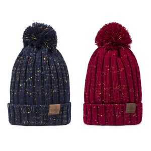 Women's Winter Pom Pom Beanie Hat with Warm Fleece Lined