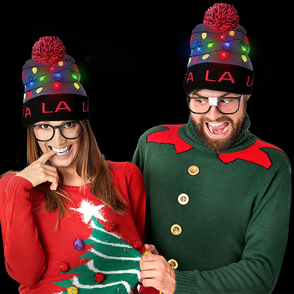 4 Pack Christmas Beanie for Kids and Adults