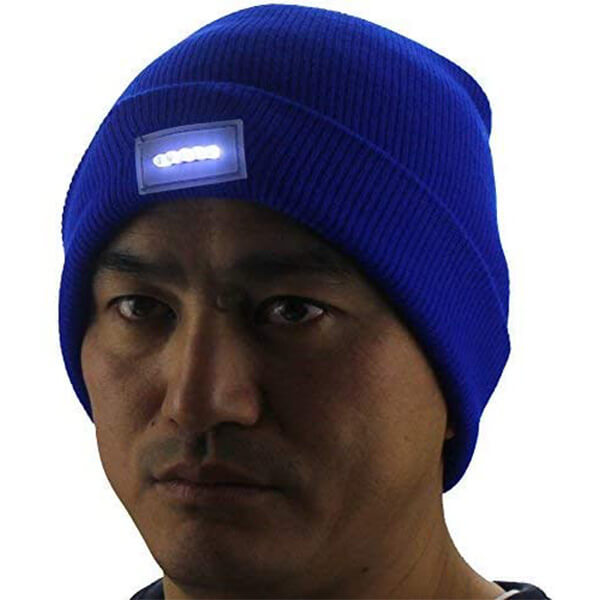 Cuff Beanie with LED Light